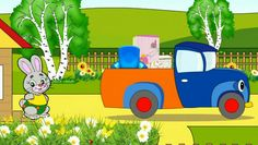 Cartoon about cars. Hardworking lorry carries furniture