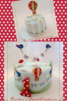 Hot air balloon first birthday cake and smash cake
