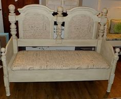 Full Circle Creations: Headboard Bench....made from old bed frames.