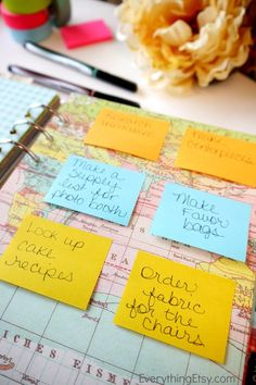 I love this idea for a task list/ running to-do list.  I think I would keep a master task/to do list elsewhere, just so nothing gets lost if a post-it slips off, but this would be great for an opening page of my planner!