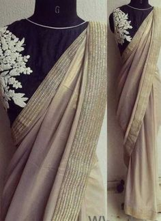 Cream Black Embroidery Work Cotting Georgette Silk Designer Sarees  http://www.angelnx.com/featuredproduct