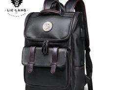 Promo Offer LIELANG Backpack Leather Men Laptop Travel Backpack 15inch Waterproof  Laptop Backpack USB College Bookbag 72bd0d8d1ff99