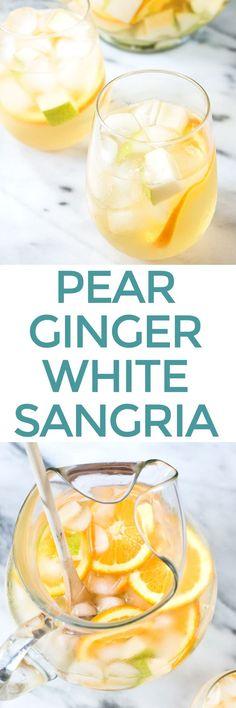 Pear Ginger White Sangria Recipe - Cake 'n Knife Pear Recipes, Sangria Recipes, Drinks Alcohol Recipes, Cocktail Recipes, Summer Recipes, Drink Recipes, Margarita Recipes, Free Recipes, White Wine Cocktail