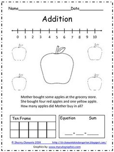 FOREVER FREEBIE One page Addition Word Problem - students solve word problem using a variety of strategies (pictures, number line, ten frame, and equation) Kindergarten math resources