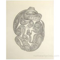 """Bear Mother and Her Husband by Bill Reid 1982 Lithograph.  One of five of the Haida Myths Series produced from sketches by Bill Reid for the book """"Raven Steals the Light"""" written by Bill Reid and Robert Bringhurst, and published by Douglas & MacIntyre in 1982.  Purchase the book """"Raven Steals the Light"""" online at Northwest Coast Gifts"""