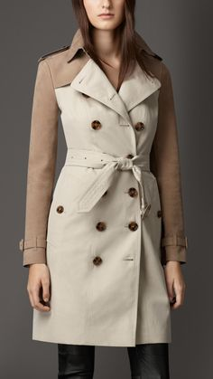 Suede Panel Gabardine Trench Coat | Burberry