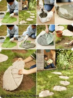 Rubarb leaf stepping stones