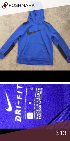 Nike Dri Fit Hoodie Boys size large. In great condition. Nike Shirts & Tops Sweatshirts & Hoodies