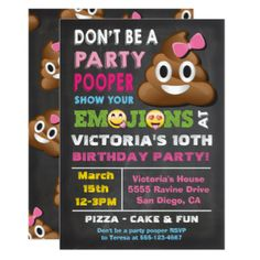 Emoji Party Pooper Girl Birthay Invitation