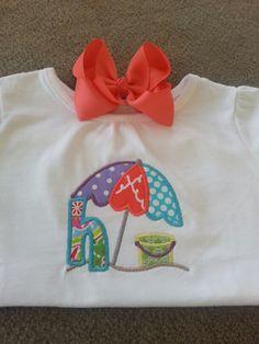 Summer beach fun appliqué shirts! Follow us on social media at Meme's Sweet Treasures!