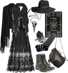 shortcuttothestars:  dunkelaesthetik:  Polyvore challenge: Wizard/witch von n-nyx, long socks enthaltend It turned more into a dark mori wood witch kind of style but there you go n_n  Ooh I love it!