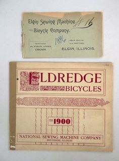 Bicycle catalog lot including 1900 Eldredge and 1896 Elgin. Fair condition. Pedaling History Museum.(70)