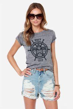 Obey Nautical Star Grey Print Tee at Lulus.com!