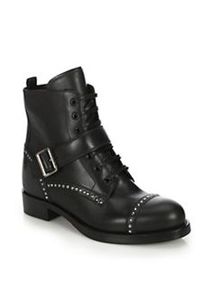Prada - Studded Leather Ankle Boots