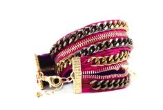 Hot Pink Double Wrap Zipper Bracelet- Zipper Jewelry-Free Shipping in U.S.. $185.00, via Etsy.