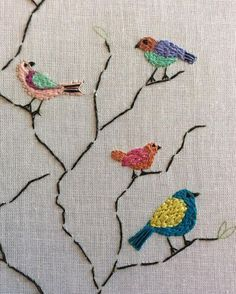Grand Sewing Embroidery Designs At Home Ideas. Beauteous Finished Sewing Embroidery Designs At Home Ideas. Brazilian Embroidery Stitches, Bird Embroidery, Hardanger Embroidery, Learn Embroidery, Hand Embroidery Stitches, Silk Ribbon Embroidery, Hand Embroidery Designs, Embroidery Techniques, Cross Stitch Embroidery