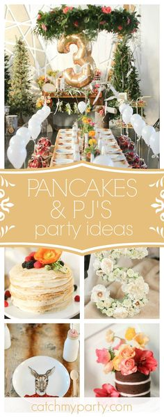 Don't miss this gorgeous Pancakes and Pajama's 3rd birthday party! The party decor is amazing!!