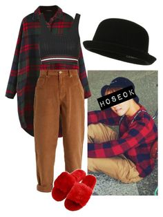 """J-Hope Inspired Outfit #5"" by flaviaazevedo2000 ❤ liked on Polyvore featuring Miu Miu, Topshop, kpop, bts, bias, Jhope and hoseok"