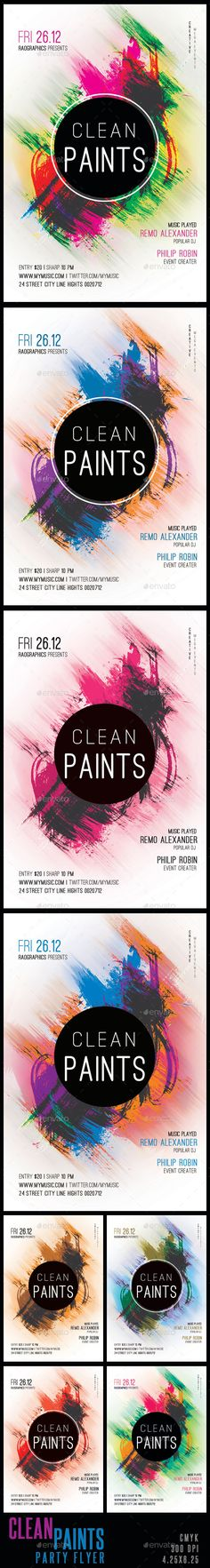 Clean Paints Party Flyer Template PSD   Buy and Download: http://graphicriver.net/item/clean-paints-party-flyer-template/9177679?WT.ac=category_thumb&WT.z_author=raographics&ref=ksioks