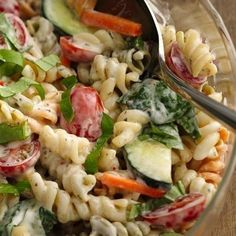 Keep your focus on grilling with this super-simple pasta side that comes together in just 15 minutes. Betty member Airforceforever loves that it's a great way to get kids to eat their veggies. Try swapping out the ranch and basil for creamy Italian dressing and Italian seasoning for a new twist on this super-popular side!
