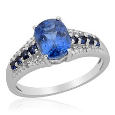 Liquidation Channel: Himalayan Kyanite, Kanchanaburi Blue Sapphire, and Diamond Ring in Platinum Overlay Sterling Silver (Nickel Free)