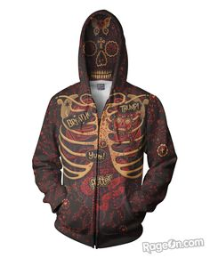 Day of the Dead Anatomy Zip-Up Hoodie – RageOn! - The World's Largest All-Over-Print Online Store