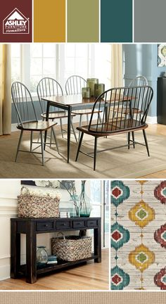 Like the accent colors with the gray dining chairs! Shanilee Dining Room - Ashley Furniture HomeStore