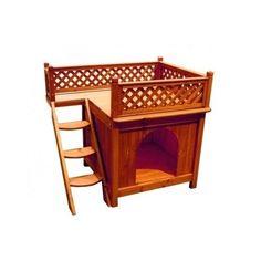 Balcony-Dog-House-Wood-Terrace-View-Weatherproof-Room-Cedar-Ladder-Lattice-Fence