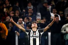 Juventus' forward Paulo Dybala from Argentina celebrates after scoring during the Italian Serie A football match Juventus Vs AC Milan on March 10, 2017 at the 'Juventus Stadium' in Turin.   / AFP PHOTO / Marco BERTORELLO