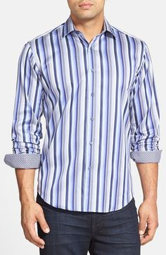 Free shipping and returns on Bugatchi Shaped Fit Stripe Sport Shirt at Nordstrom.com. A striped sport shirt is anything but ordinary with rich, vibrant colors and contrast geo-print trim inside the cuffs and collar. The sharp cotton style has undergone a special silk-protein treatment to achieve a soft, smooth hand.