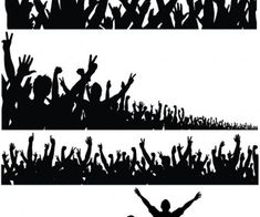 Silhouette of a crowd of people with their hands raised