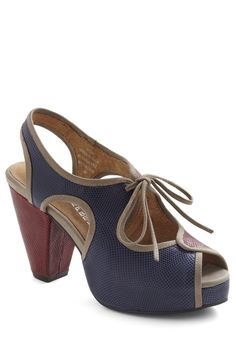 at Mod Cloth // Side By Stride Heel by Jeffrey Campbell - Blue, Red, Solid, Cutout, Lace Up, Peep Toe, Chunky heel, Slingback, Leather, High, Tan / Cream, Work, Colorblocking