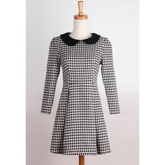 Vintage Flat Collar Houndstooth 3/4 Sleeve Pleated Dress For WomenVintage Dresses | RoseGal.com
