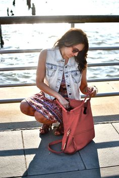jean vest over dress and love that bag