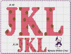Polka Dots Alphabets ... J-L Monograma com bolinhas Plastic Canvas Letters, Plastic Canvas Crafts, Abc Alphabet, Alphabet And Numbers, Cross Stitch Alphabet Patterns, Cross Stitch Embroidery, Canvas Patterns, Needle And Thread, Lettering