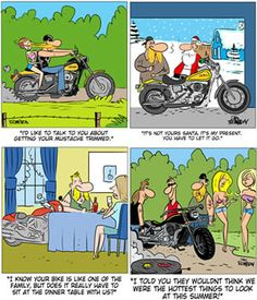 On The Biker Side is a cartoon series with a funny take on the biker lifestyle and motorcycle community. Created by Dan Thompson, these biker cartoons are brought to you by The Bikers' Den and are released and posted right here every month.