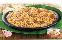 Lechona típica tolimense, comida lista y fácil de acompañar a cualquier hora y lugar. Frijoles, Macaroni And Cheese, Ethnic Recipes, Food, Salsa Chicken, Sausages, Preserve, Mac And Cheese, Products