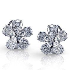 """Simon G. 18K White Gold Diamond """"Flower Petal"""" Cluster Earrings · LE4276 · Ben Garelick Jewelers"""