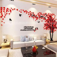 Large Size Couple Tree Mirror Wall Stickers TV Backdrop DIY Acrylic Autocollant Mural Home Decor Living Room Wall Decals Wall, Wall Decals, Wallpaper Living Room, Tree Wall Stickers, Wall Decor, Diy Wall, Home Decor, Wall Stickers, Mirror Wall Stickers