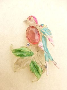 1940's Early Plastic Painted and Rhinestones C Clasp Bird Brooch
