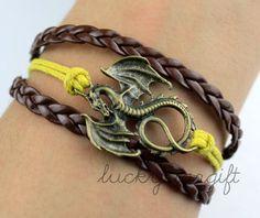 Bronze dragon charm bracelet with yellow strap brown rope woven fashion bracelet charm bracelet-Q224by luckystargift, $1.69