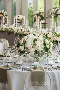 White flower wedding table centerpiece