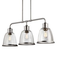 Hobson Satin Nickel Three Light Fluorescent Pendant With Clear Seeded Glass Feiss Linear P