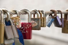 Love Locks on the Fence stock photo by dinozzaver