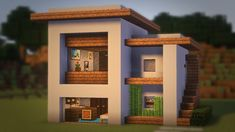 Minecraft: How to Build a Small Modern House Tutorial + Interior ( – Seraphina - Diy Techniques Minecraft House Tutorials, Minecraft Houses Survival, Minecraft Plans, Minecraft Room, Minecraft House Designs, Minecraft Crafts, Minecraft Furniture, Minecraft Shops, Minecraft Interior Design