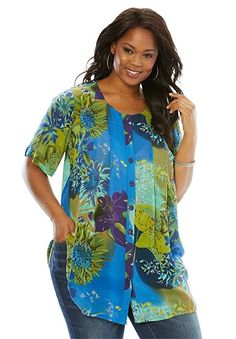 8234e5ca828 Roamans Women s Plus Size Angelina Tunic In Crinkle Crepe at Amazon Women s  Clothing store  Tunic