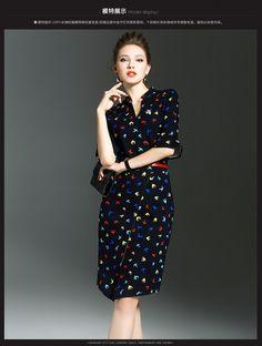 Длинные юбки края 2016 Hitz женщин ретро моды темперамент Тонкий хип пакет V-образным вырезом печати платье 9717- Taobao глобальной станции