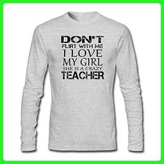 ZWEN Men's don't Flirt With Me I Love My Girl She is a Crazy Teacher T-Shirt - Careers professions shirts (*Amazon Partner-Link)