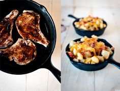 Whiskey glazed pork chops and corn chowder mac n cheese from werd.com; girlfriend tested, boyfriend approved.