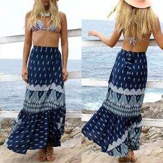 Vestido Falda largo Bohemia casual -azul